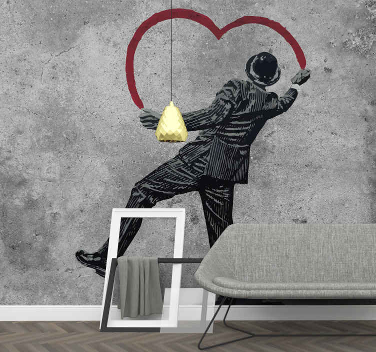 TenStickers. Banksy graffiti on the wall Urban Art Wall Mural. Urban art wall mural design of banksy graffiti art work. An impressive design for street art lovers. This product is made of high quality.