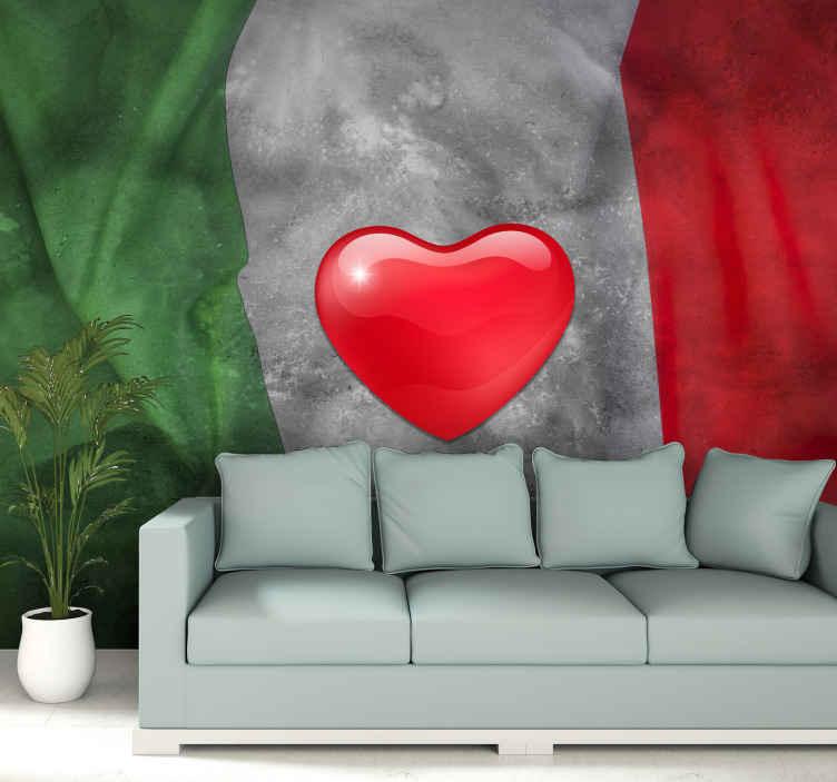 TenStickers. Fotomurali città e paesi Cuore con colori italiani. Bandiera italiana in casa tua con il nostro design murale originale bandiera del paese italiano. Questo disegno è realizzato in uno stile di trama dipinto.