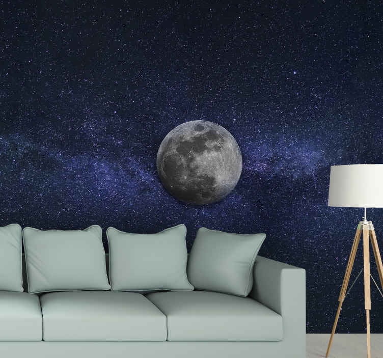 TenStickers. Moon and stars Lounge Photo Wallpaper. Bring the stars and moon in it complete beauty and wounder close to you in our space scenery wall mural. It is easy to apply and made of good quality.