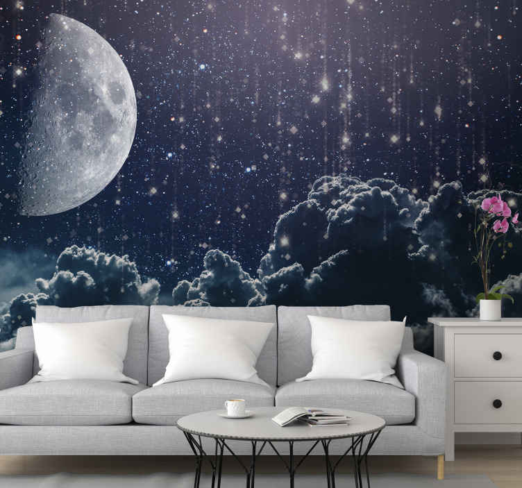 TenStickers. Moon with falling stars Lounge Photo Wallpaper. A lovely space scenery photo mural with the design image of the falling stars, moon and deep cloud. Amazing scenery design decoration for any space.