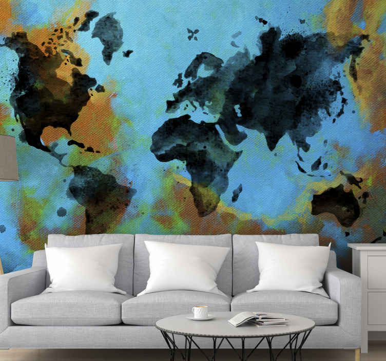 TenStickers. Painted world map Lounge Photo Wallpaper. Painted abstract world map wall mural design that you would definitely love on your space. It is easy to apply and made from high of material.
