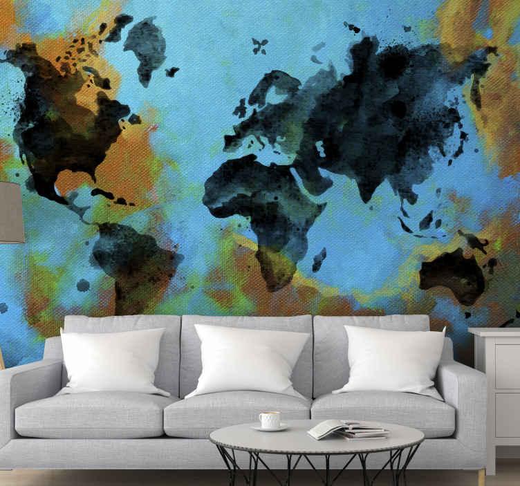Tenstickers. Målade världskarta lounge tapeter. Målad abstrakt världskarta väggmålning som du definitivt skulle älska på ditt utrymme. Det är lätt att applicera och tillverkat av hög material.