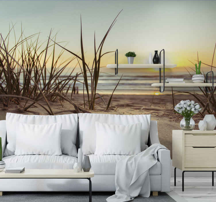 TenStickers. Sunset and beach landscape wall mural. An amazing sunset scenery photo wall mural to decorate any space with an exotic landscape view. The product is made of high quality.
