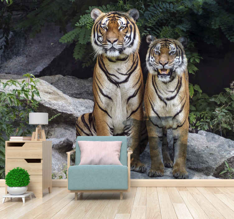 TenStickers. Two tigers animals mural wallpaper. Decorative realistic tigers with forest landscape wall mural for your wall decoration. The product is made of high quality and easy to apply.