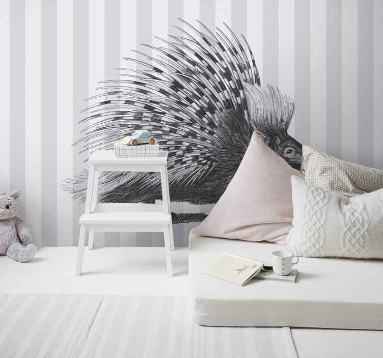 TenStickers. Porcupine art black and white Wall Murals for Bedrooms. A magnificent decorative black and white porcupine art wall mural.  You don't need to waste time to pick this design for your home or office.