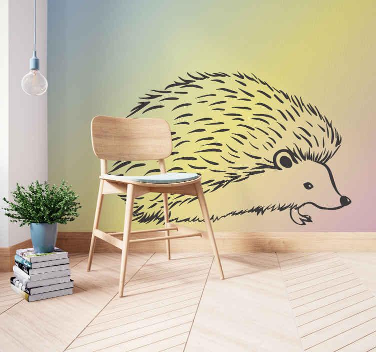 TenStickers. Porco-espinho desenhado em linhas fotomural vinílico de parede. fotomural vinílico decorativo da foto do desenho do porco-espinho para a casa e outro espaço. é fácil de aplicar, duradouro e de material de alta qualidade.