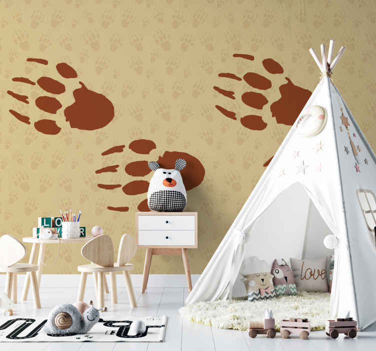 TenStickers. Porcupine footprint Bedroom Murals. A decorative animal wall mural design with brown background  patterned with porcupine footprints in blurry appearance and large revealing ones.