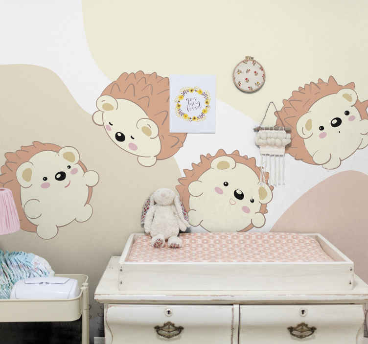 TenStickers. Porcupine pattern Bedroom Murals. Lovely appealing children bedroom wall mural design featured with cute little porcupines. The product is made from high quality material.