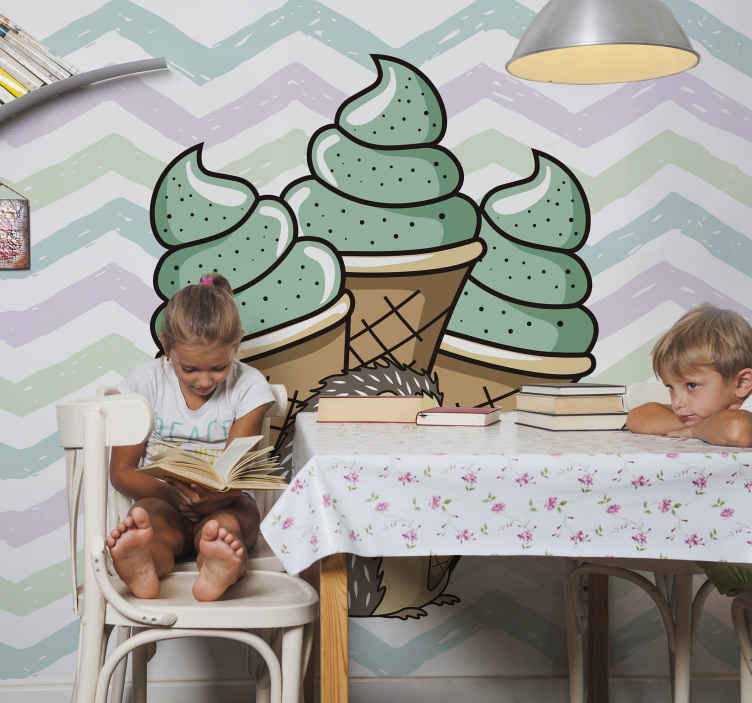 TenStickers. Yummy porcupine Kitchen Wall Mural. Looking for an attractive and yummy photo mural design for your kitchen? our high resolution porcupine and icecream  design is perfect for your search.