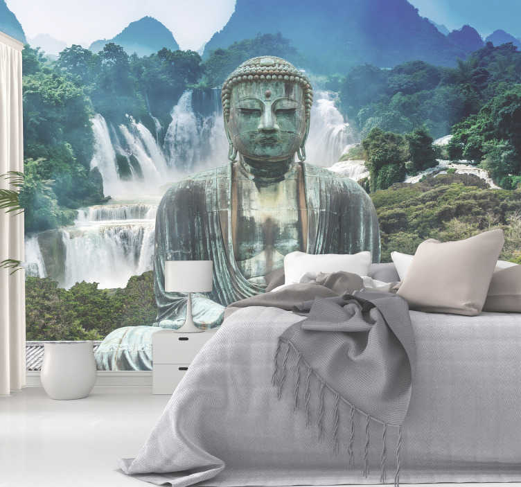 TenStickers. Cascades of calm zen photo wallpaper. Venture to the cascades of calm with this Buddha wall mural. Stunning waterfalls, surrounded by a forest, and in front a large Buddha statue