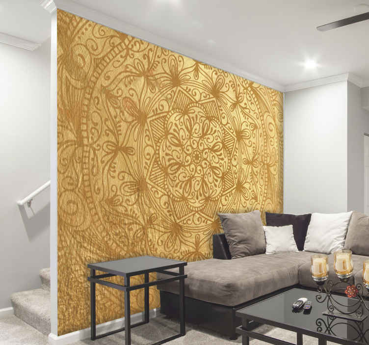 TenStickers. Gold Mandala Wall Mural. These are the golden days, well that's what you'll be saying when sitting on your sofa in front of your gold mandala wall mural