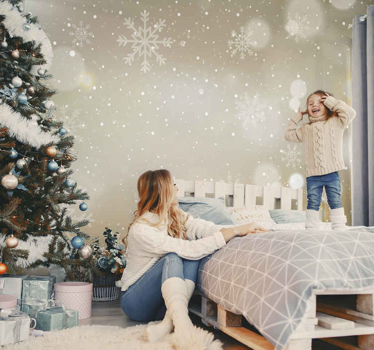 TenStickers. Christmas snowflakes shiny effect Wall Murals for Bedrooms. Shiny Christmas snowflakes wallpaper with an amazing appearance to thrill kids for Christmas. It is easy to apply and of great quality.