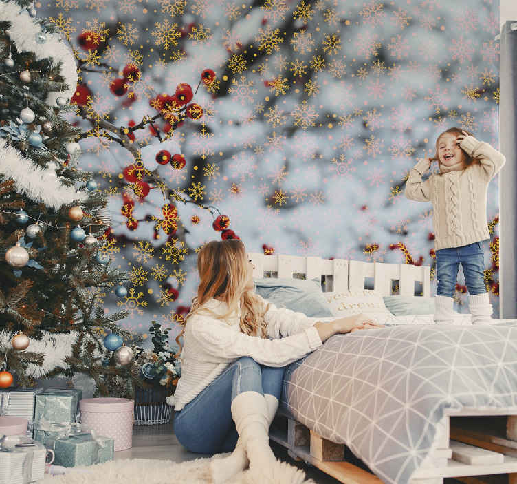 TenStickers. Christmas snowflakes Bedroom Murals. Lets bring the feel and joy of Christmas to your home in this falling Christmas snowflakes wallpaper. Easy to apply and of great quality.