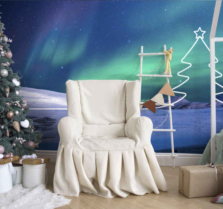 TenStickers. Christmas tree Line Lounge Photo Wallpaper. Decorative amazing Christmas photo wallpaper design created with lovely space appearance to bring a calm Christmas atmosphere on your space.