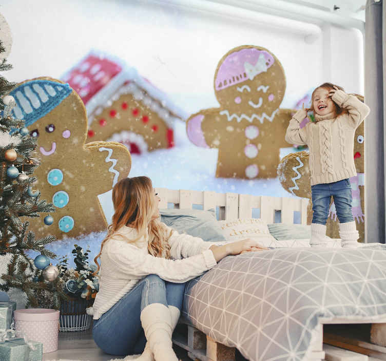 TenStickers. Christmas Cookies Bedroom Murals. Decorative Christmas cookies children wallpaper design you would love for your kid's bedroom space as Christmas decoration.