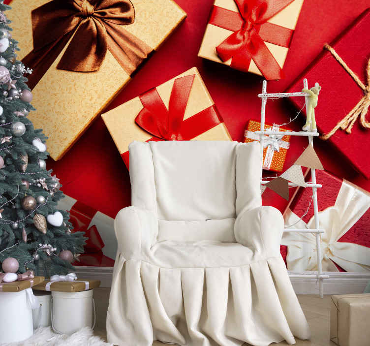 TenStickers. Gift boxes pack Red Photo Wallpaper. Gift boxes pack Lounge Photo Wallpaper. A great decorative Christmas decoration for both home and commercial places. Easy to apply.