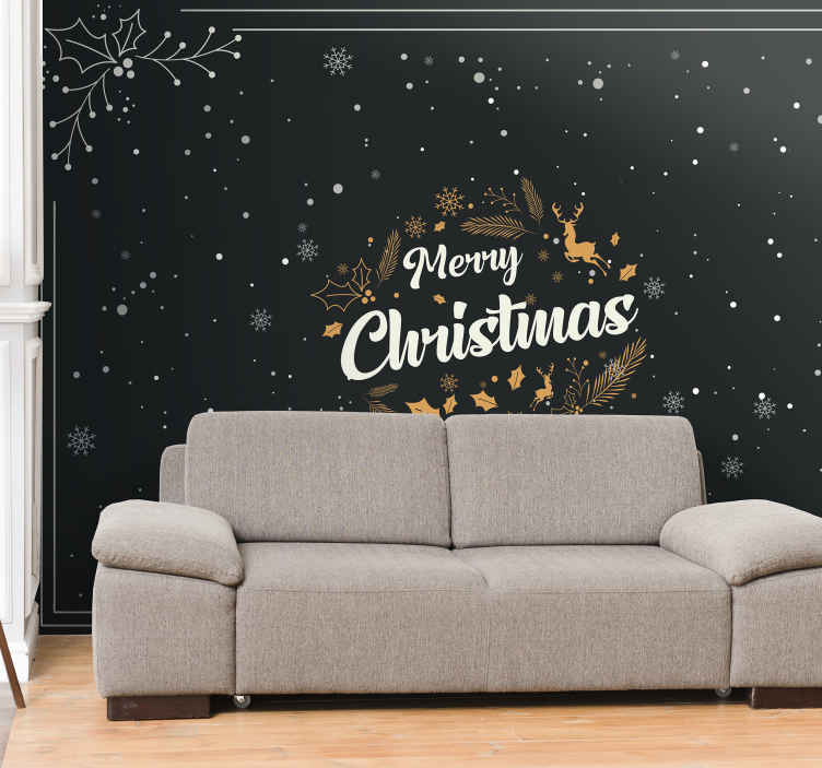 TenStickers. Merry Christmas composition Lounge Photo Wallpaper. Merry Christmas wall mural decoration for Christmas. It is feature with black background hosting a reindeer, snowflakes and other elements.