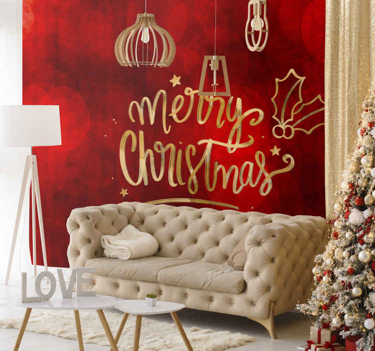 TenStickers. Merry Christmas in red wall mural. Decorative Christmas home wallpaper sticker design with red background and ornamental Christmas feature. It is easy to apply and made of high quality.