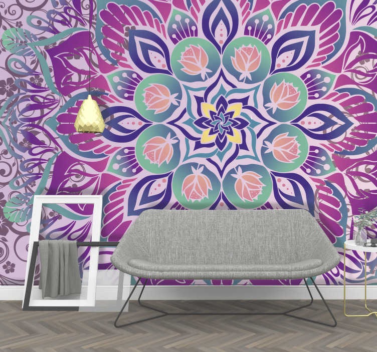 TenStickers. Purple mandala Mandala Wall Mural. Fun, bright, purple, if that is what you are want then stop searching, you've found perfection! This mandala wall mural is what you've been after!
