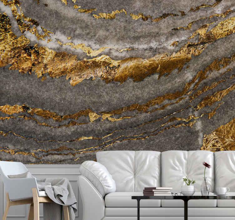TENSTICKERS. 豪華な金と青の壁画の壁紙. あなたがそれに抽象的なデザインの詳細に不思議に思うことを続けるであろう織り目加工のパターンの壁の壁画。金と灰色の要素の組み合わせを描いた豪華な壁画。