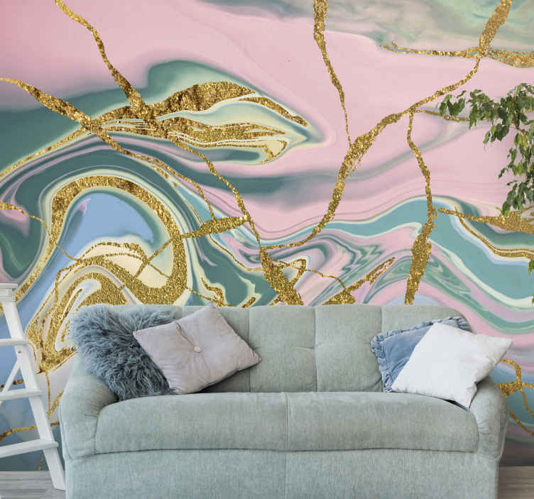 TenStickers. Gold print blue marble texture wall mural wallpaper. Decorative golden marble print texture wall mural depicting a mix of colour wave with an outstanding brilliant and crystal gold colour.