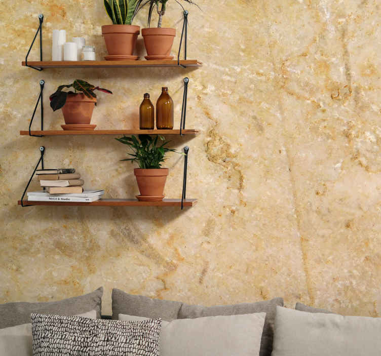 TenStickers. Brown stone mural wallpaper. Brown marble mural design which features a marble rock with a beautiful intricate pattern. Extremely long-lasting material.