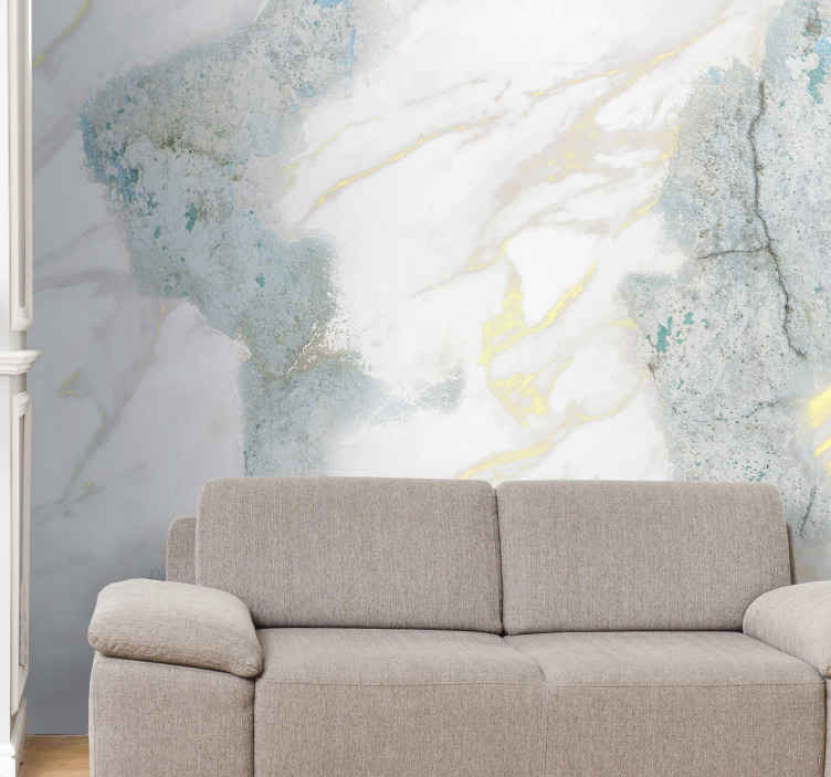 TenStickers. Natural blue rock mural wallpaper. Marble mural which features a blue and white marble rock with lines of gold appearing within it. High quality materials used.
