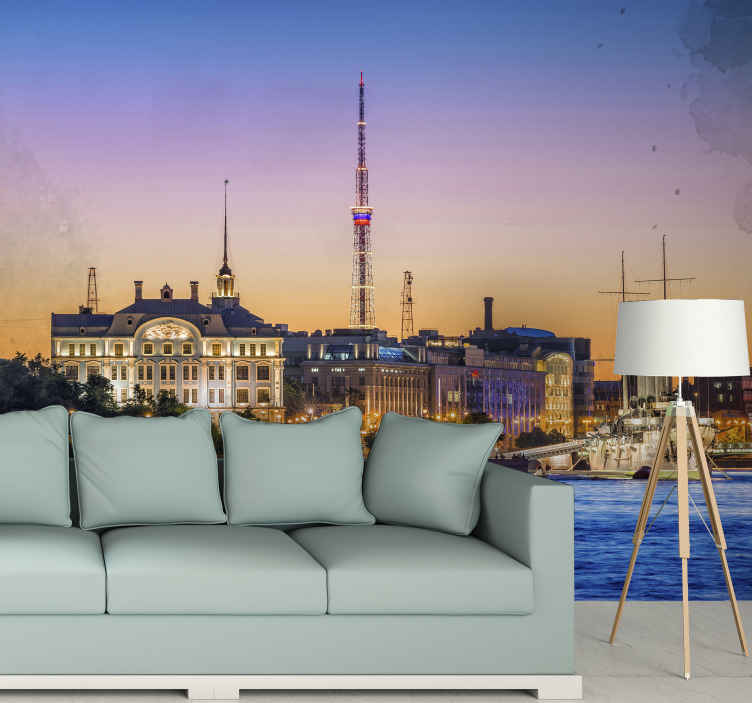 TenVinilo. Fotomural de ciudades noche en San Peterburgo. Increíble fotomural salón nocturno de st. Petersburgo apto para cualquier estancia para disfrutar de unas vistas increíbles ¡Envío gratuito!