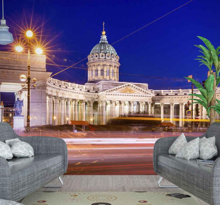 TenVinilo. Fotomural ciudades catedral Kazanskiy. Fotomural de ciudades de la catedral de Kazanskiy para tu salón. Olvídese de las aburridas paredes lisas con este diseño ¡Envío gratuito!