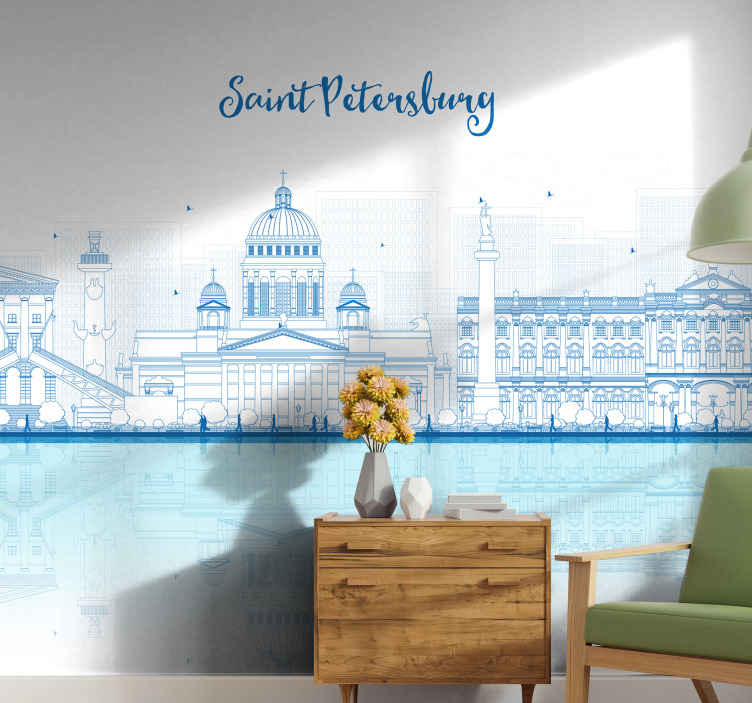 TenStickers. Saint Petersburg Skyline mural wallpaper. Do you love attraction sites and special structures! if yes then this design of Saint Petersburg Skyline wall mural is a must have for your home.