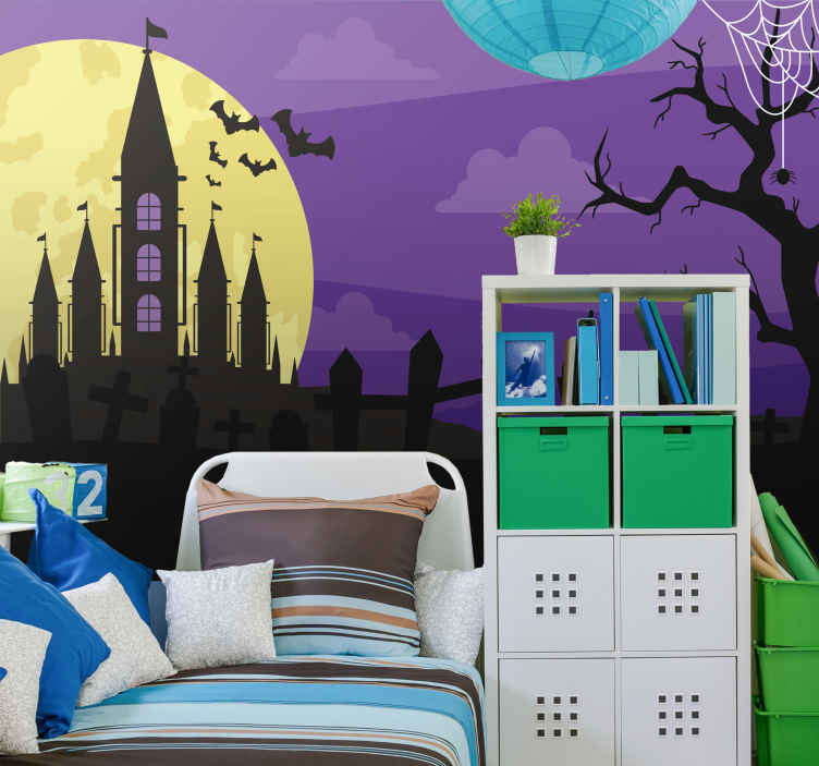 TenStickers. Gloomy cemetery Halloween night wall mural wallpaper. Imagine walking in a gloomy cemetery at night, this is what this Halloween large photo mural depicts. It contains a castle in the forest with graves.