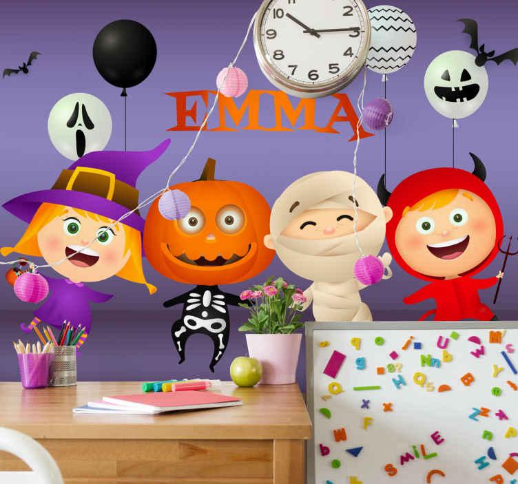 TenStickers. Fotomurais de Parede Feliz desenho de halloween. Feliz halloween fotomural vinílico de parede para crianças com ilustrações de diferentes personagens de desenhos animados no tema e estilo de halloween.