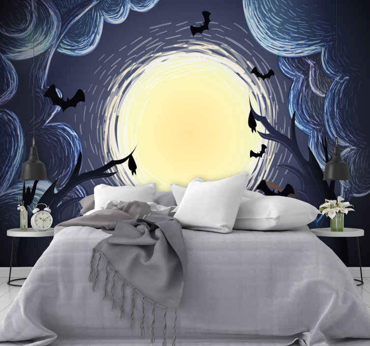TenStickers. Elegantní halloween netopýři fototapeta tapeta. Samolepicí fototapeta pro dům i do jiného prostoru. Design se vyznačuje strašidelnými halloweenskými postavičkami v elegantním displeji.