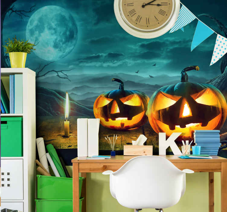TenStickers. Ghost with pumpkin real effect wall mural wallpaper. Create a terrifying Halloween atmosphere in your space with horror features in our ghost pumpkins and forest wall mural.