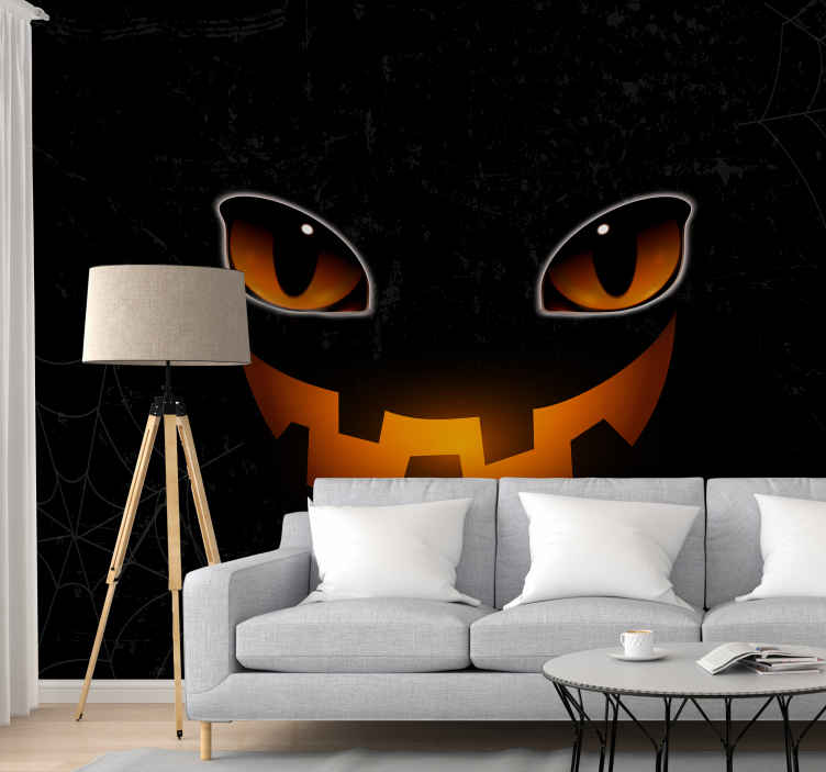 TenStickers. Frightful Halloween cat wall mural wallpaper. Frightful Halloween cat wall mural featured on black background depicting a cat emerging from the dark.The product is made with high quality material.