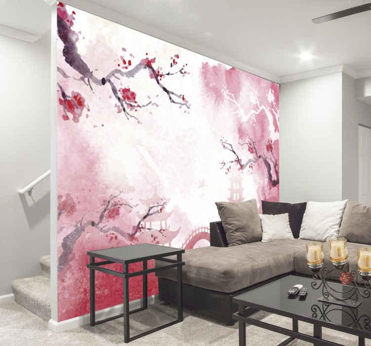 TenStickers. Japansk have zen foto tapet. Har din egen japanske have i dit hjem med denne blomster vægmaleri. Tilføj smukt stænk lyserødt til dit hjem. Bestil din nu!