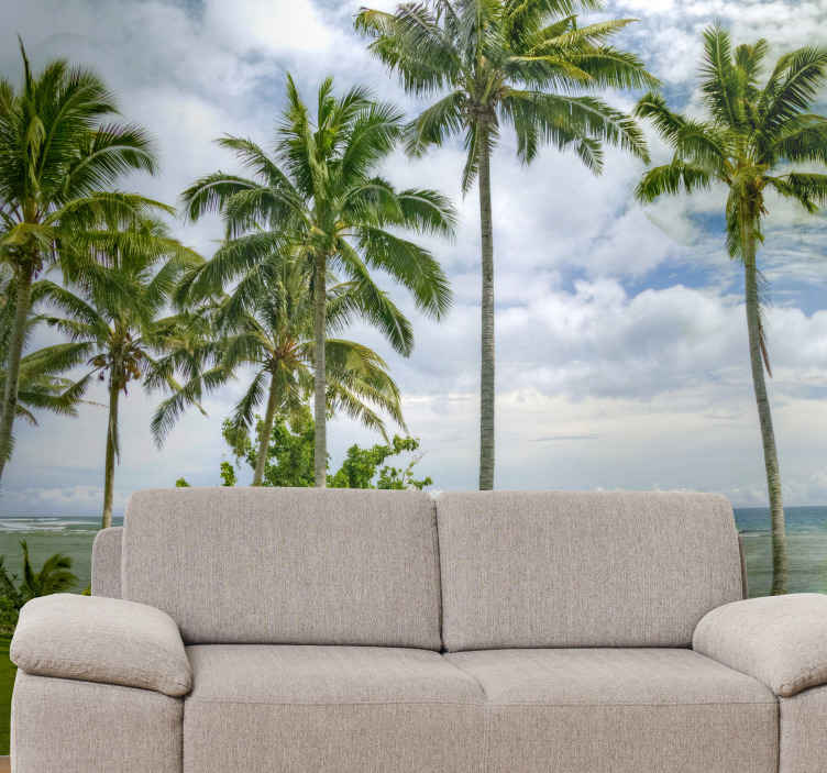 TenStickers. Samoa beach landscape wall mural. Leave your living room in the wounder of this amazing nature landscape wall mural design of semoa sea beach. Made of high quality material.