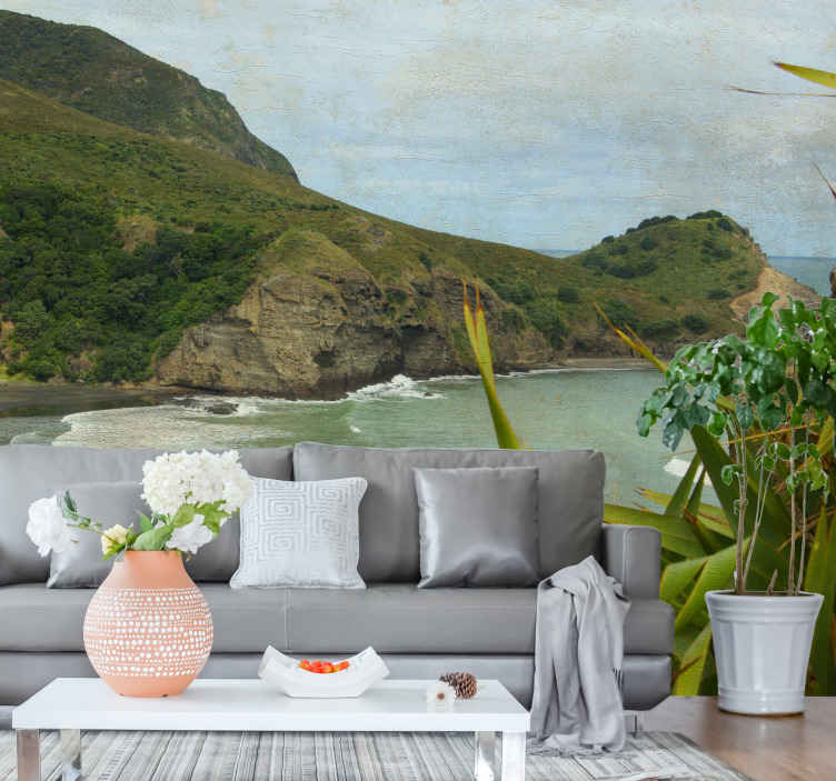 TenStickers. Piha beach landscape wall mural. Sitting in your living room relaxing to the amazing view of this  sea scenery landscape wall mural of piha beach view is just everything.