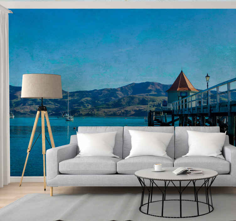 TenStickers. Wharf beach landscape wall mural. Wake up every time to the stunning view of this Wharf beach sea scenery wall mural on your space. It is original and easy to apply.