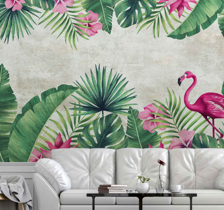 TenStickers. Flamingos and palms landscape wall mural. Colourful tropical nature plant wall mural with flamingo bird to decorate a home and other space. Easy to apply and available in different sizes.