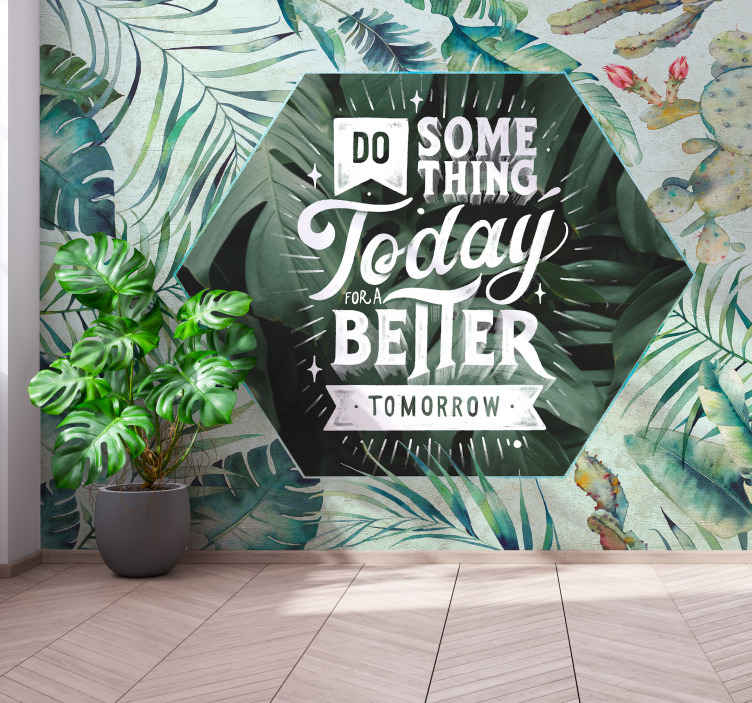 TenStickers. Tropicana Nature in watercolor mural wallpaper. Tropical nature wall mural in watercolor. The design is also inscribed with text on a transparent hexagonal. Easy to apply and made of high quality.
