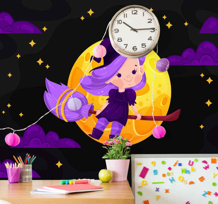 TenStickers. Night witch Halloween photo mural. A perfect children Halloween photo wall mural with the design of a flying little witch at night. Easy to apply and available in  different sizes.