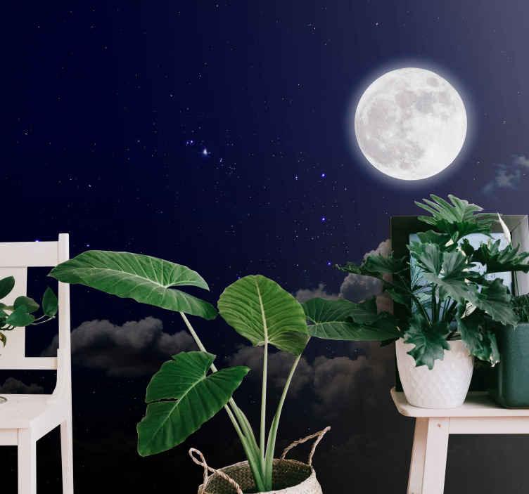 TenStickers. 보름달과 하늘 사진 벽화. 가정 및 사무실 장식을위한 skyl 사진 벽화 디자인 장식 보름달. 적용하기 쉽고 고품질의 소재입니다.
