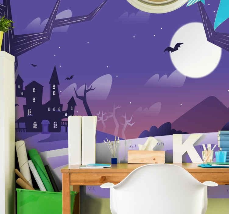 TenStickers. 月亮城堡打印万圣节墙壁画. Ghost具有万圣节墙的壁画设计,其中包含可怕的可怕邪恶城堡,蝙蝠,月亮树等。易于应用和高品质。