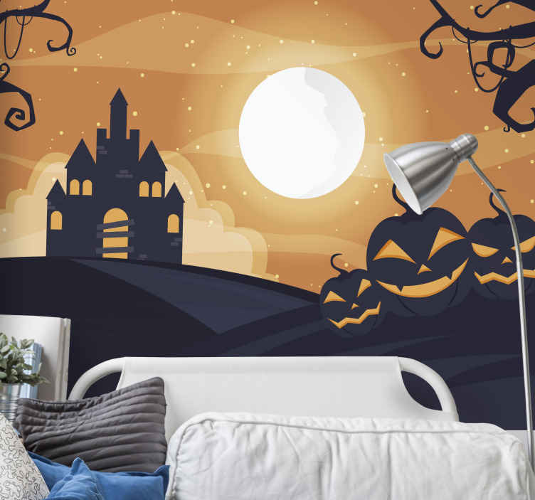 TenStickers. Orange happy Halloween wall mural. Featured scary Halloween wall mural design with the design of ghost pumpkins, ghost house and trees. Easy tp apply and of high quality material.