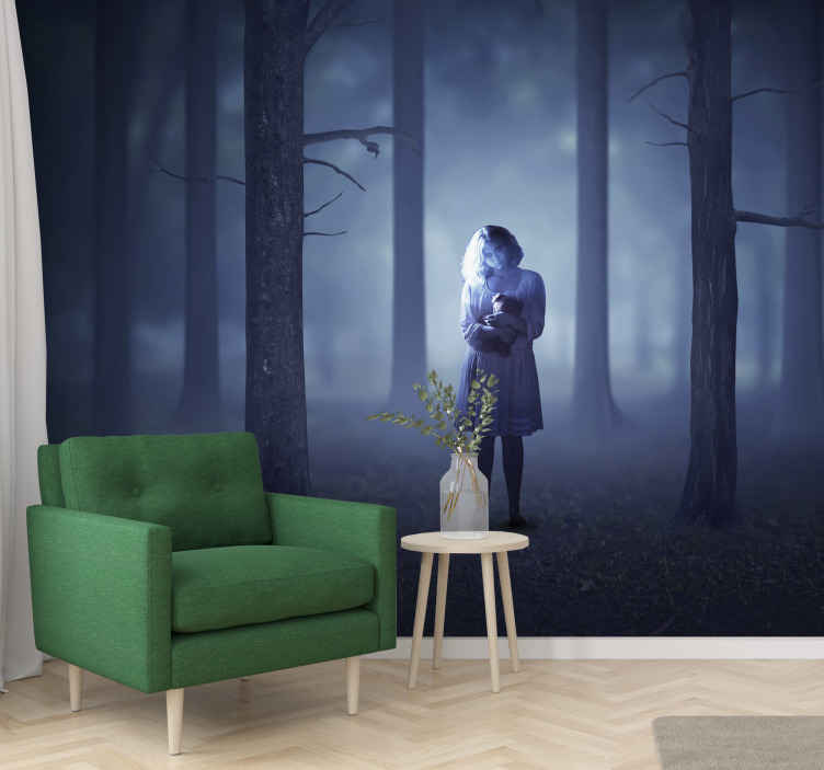 TenStickers. Printed ghost photo wall mural. Looking for a scary Halloween wall mural design to decorate a space for Halloween festival? here is a foggy dark forest design with a ghost girl.