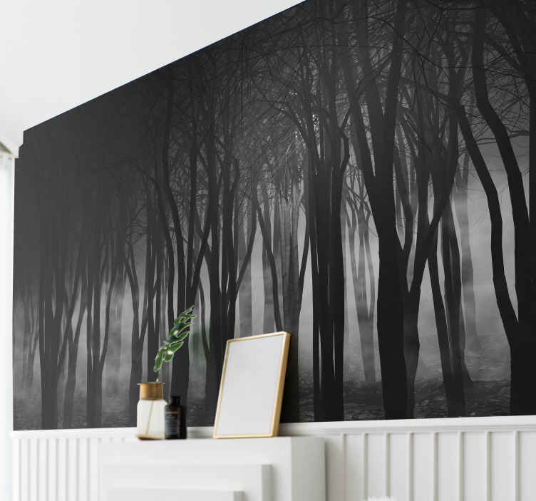 TenStickers. Foggy forest photo wall mural. Looking for something exceptional to to decorate your home? Here we got you a foggy forest photo mural. Easy to apply and of high quality.