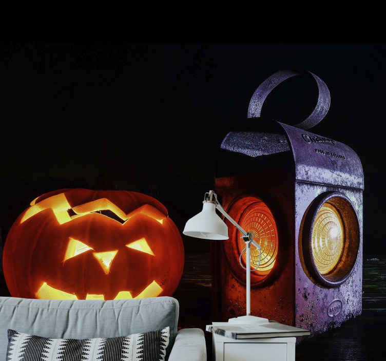 TenStickers. Ghost Pumpkin Lamp photo mural. Featured Halloween photo mural with a ghost pumpkin and lamp design A lovely decoration for any space during Halloween festival.