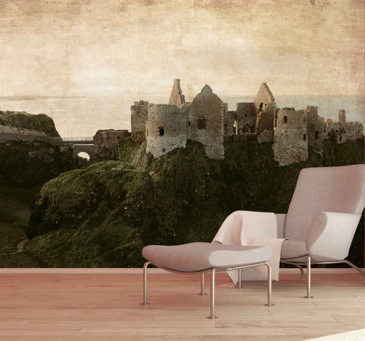 TenStickers. Dunluce Castle Northern wall mural wallpaper. Fill your home with ancient structure and iconic monument  design of Dunluce castle. The country location landscape wall mural is just everything.