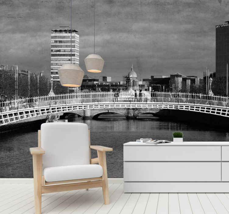TenStickers. Hapenny Bridge in Dublin wall mural wallpaper. Realistic and breath taking Dublin city Ha'penny Bridge scenery wall mural. Am amazing design made with best quality material, easy to apply.